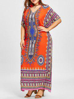 Robe Poncho à Col En V Et à Imprimé Ethnique - Orange