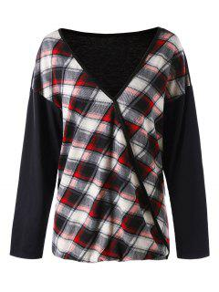 Plus Size Plaid V Neck T-shirt - Red 5xl