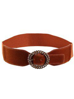 Hollow Out Round Shape Buckle Elastic Waist Belt - Chocolate