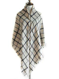Checkered Pattern Embellished Fringed Shawl Scarf - White