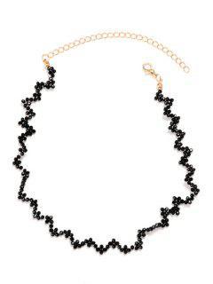 Faux Crystal Collarbone Zig Zag Necklace - Black