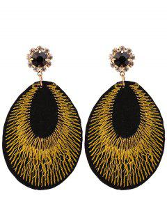 Rhinestone Teardrop Embroidery Bohemian Earrings - Yellow