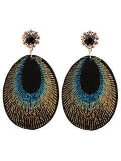 Rhinestone Teardrop Embroidery Bohemian Earrings - Blue
