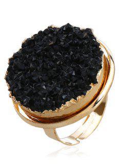 Engraved Artificial Crystal Round Finger Ring - Black One-size