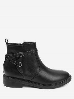 Almond Toe Buckle Wrap Stacked Heel Ankle Boots - Black 40