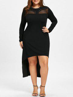 Plus Size Mesh Insert High Low Hem Dress - Black 5xl