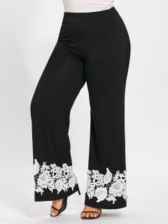 Plus Size Appliqued Floral Palazzo Pants - Black 4xl