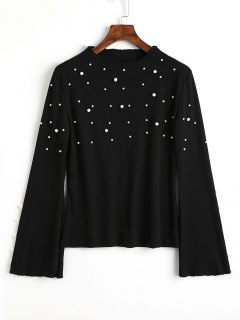 Ribbed Flare Sleeve Faux Pearls Sweater - Black L