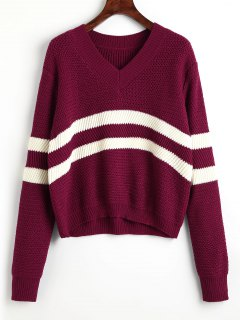 Pullover Stripes Panel V Cuello Suéter - Vino Rojo