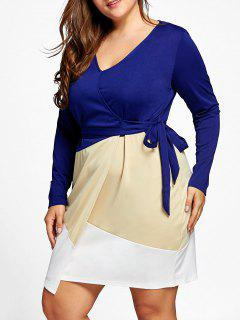 Surplice Color Block Plus Size Dress - Blue 5xl