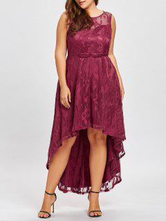 Plus Size Dip Hem Lace Evening Dress - Wine Red 5xl