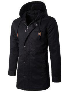 Hooded Zip Up Drawstring Longline Padded Coat - Black L
