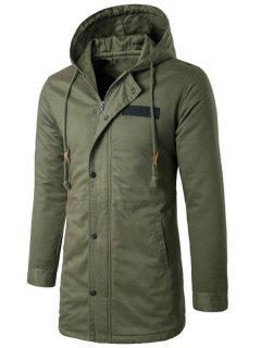 Hooded Zip Up Drawstring Longline Padded Coat - Army Green Xl