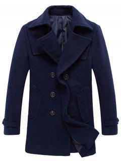 Double Breasted Woolen Blend Tall Peacoat - Deep Blue 2xl