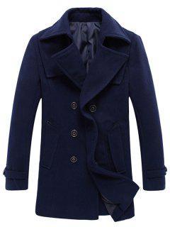 Manteau à Pois En Mélange De Laine à Double Boutonnage - Bleu Profond 2xl