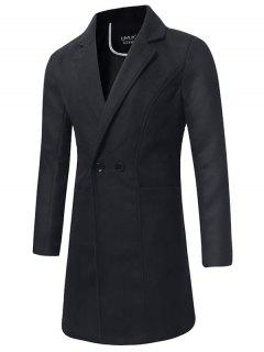 Lapel Double Breasted Longline Woolen Coat - Black L