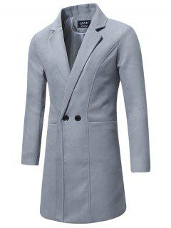 Lapel Double Breasted Longline Woolen Coat - Gray 4xl