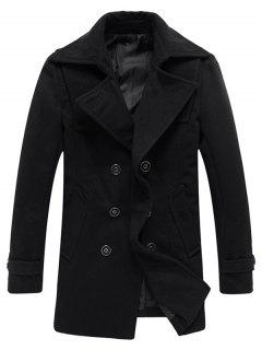 Double Breasted Woolen Blend Tall Peacoat - Black L