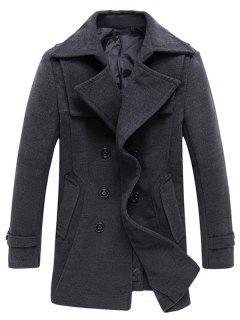 Manteau à Pois En Mélange De Laine à Double Boutonnage - Gris L