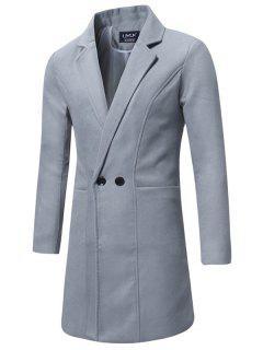 Lapel Double Breasted Longline Woolen Coat - Gray L