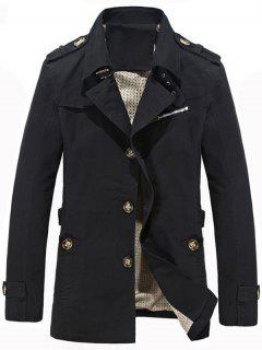 Notched Collar Epaulet Design Casual Coat - Black 4xl
