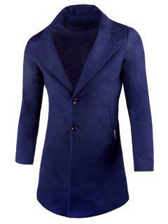 Manteau En Laine Mélangée à Col Tailleur Avec Poches - Bleu 4xl