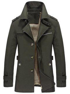 Notched Collar Epaulet Design Casual Coat - Army Green L