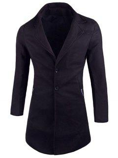 Pockets Lapel Wool Blend Coat - Black Xl