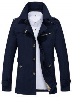 Notched Collar Epaulet Design Casual Coat - Purplish Blue L