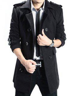 Epaulet Double Breasted Woolen Blend Trench Coat - Black L