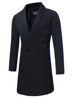 Turndown Collar Double Breasted Longline Trench Coat - Black 2xl