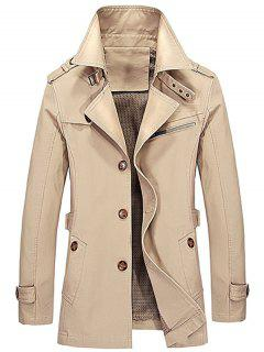 Notched Collar Epaulet Design Casual Coat - Light Khaki L