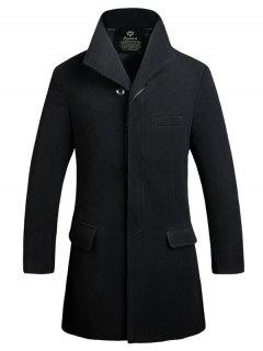 Cover Placket Single Breasted Longline Woolen Coat - Black L