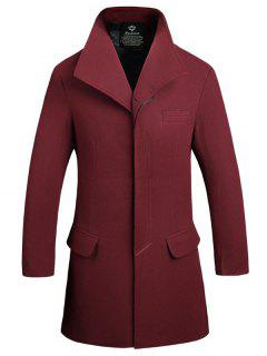 Manteau Long En Laine à Boutonnage Simple à Fermeture Invisible - Rouge Vineux  L