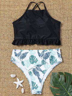 Lace Up Palm Leaf High Cut Bikini Set - Black L