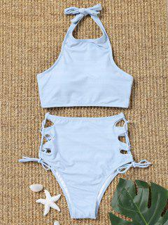 Side Lace Up Striped High Waisted Bikini - Light Blue L