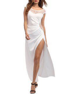Vestido De Fiesta Drapeado De Alta Hendidura Maxi - Blanco S