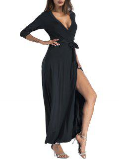 Belted Plunging Surplice High Slit Maxi Dress - Black M