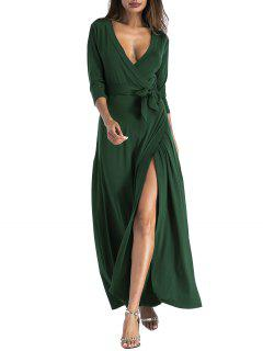 Belted Plunging Surplice High Slit Maxi Dress - Green S