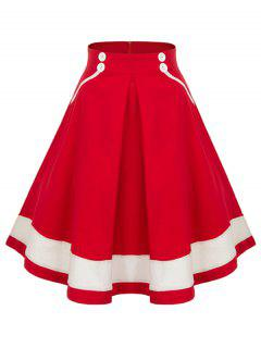 Buttoned High Waisted Midi Pleated Skirt - Red Xl