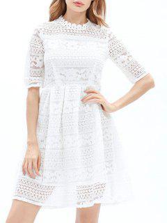 Mini Vestido De Encaje Bordado - Blanco S