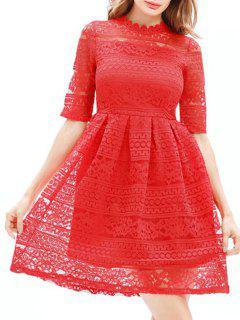 Mini Vestido De Encaje Bordado - Rojo 2xl