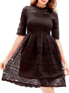 Embroidered Lace Mini A Line Dress - Black 2xl