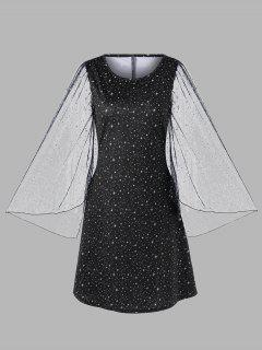 Plus Size Flare Sleeve Galaxy Dress - Black Xl