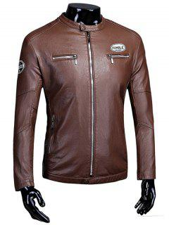 Zip Up Patch Flocking Faux Leather Jacket - Brown L