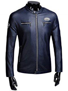 Zip Up Patch Flocking Faux Leather Jacket - Cadetblue L