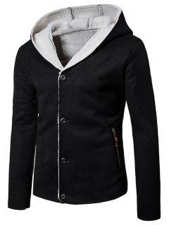 Hooded Fleece Button Up Suede Jacket - Black L