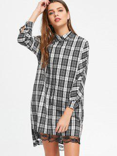 Lace Panel High Low Checked Shirt Dress - Checked S