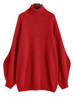 Lantern Sleeve Turtleneck Oversized Sweater - Red