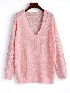 Pullover Plain V Neck Sweater - Pink